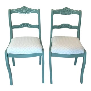 19th Century Carved Teal Side Chairs - A Pair For Sale