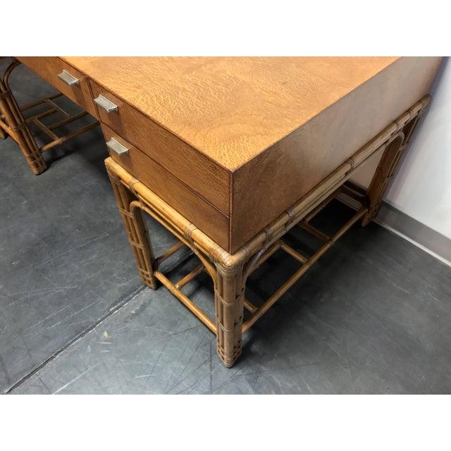 1970s Vintage Refurbished Henredon Bamboo Rattan Double Pedestal Desk For Sale - Image 5 of 13