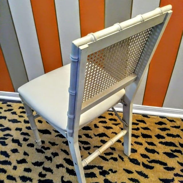 Amazing set of 4 vintage Stakmore faux bamboo folding chairs. This set of chairs are so special. They have that great palm...