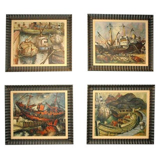 Set of Four WPA Style Ship Paintings For Sale
