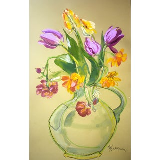 Purple and Parrot Tulips Painting by Gretchen Kelly For Sale
