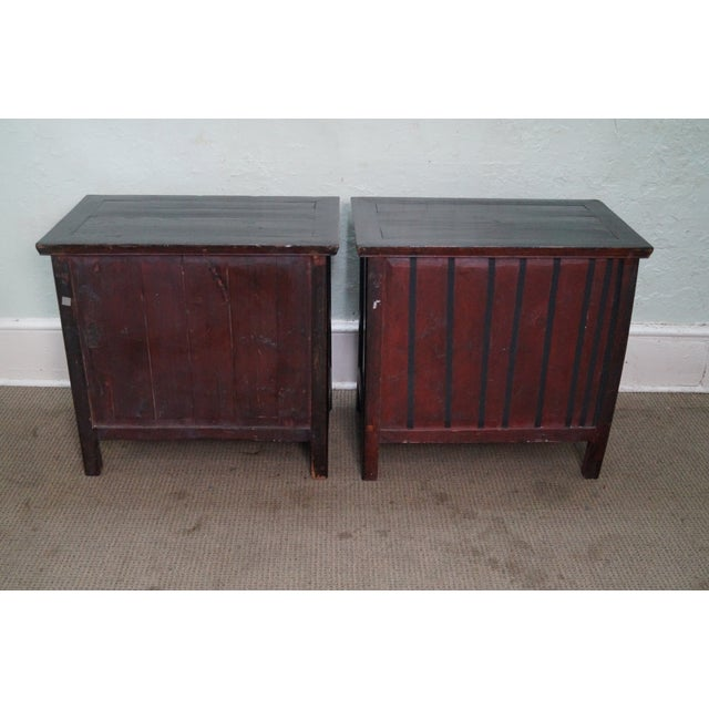 Rustic Black Chinese Cabinets or Chests - Pair - Image 9 of 10