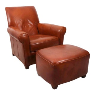Leather Club Chair and Ottoman - a Pair For Sale