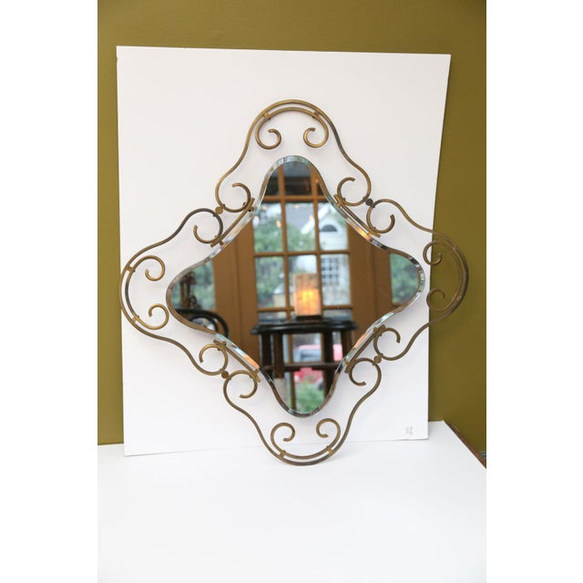 French Vintage Brass Frame Mirror For Sale - Image 10 of 10