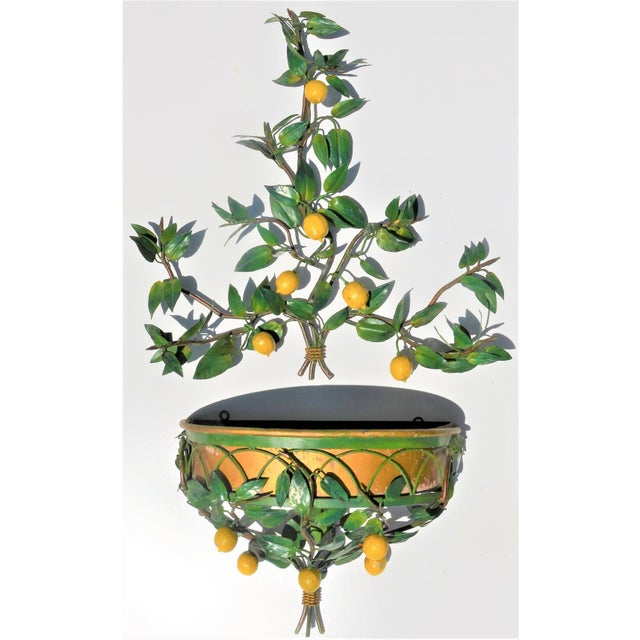 Vintage Italian Tole Lemon Tree Wall Sconce With Planter For Sale - Image 10 of 10