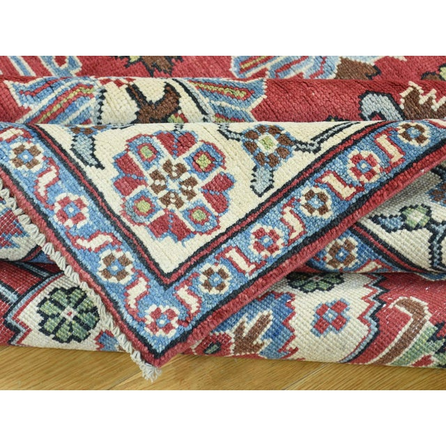 Textile Hand-Knotted Pure Wool Geometric Design Red Kazak Rug- 5′ × 6′3″ For Sale - Image 7 of 12