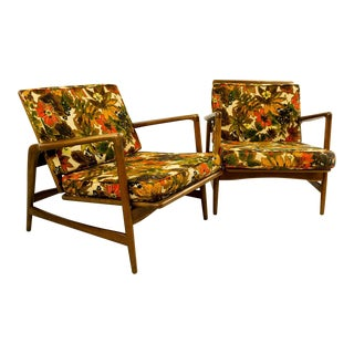 Kofod Larsen Style Reclining Lounge Chairs - A Pair