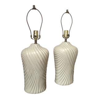 1970s Draped Off White Ceramic Lamps - a Pair For Sale