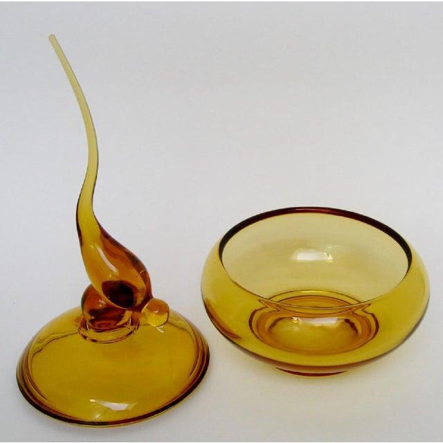 Hollywood Regency Viking Amber Glass Bowl For Sale - Image 3 of 7