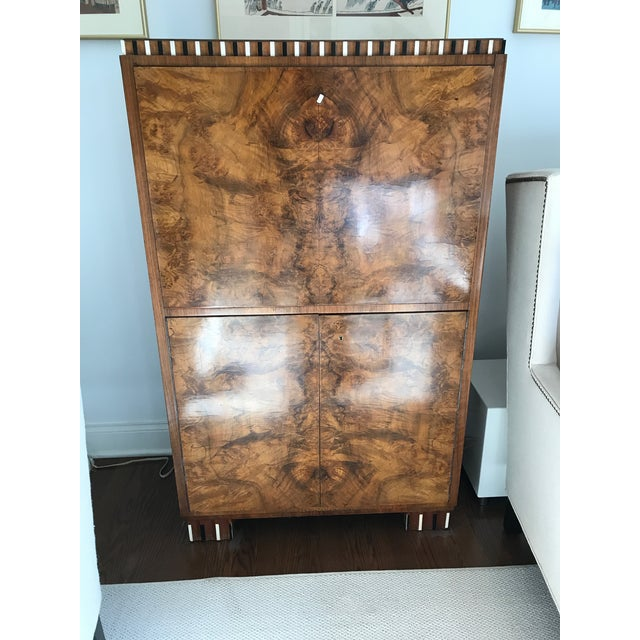 Biedermeier Burled Wood Cabinet with Fold Down Desk Top & Drawers - Image 2 of 6