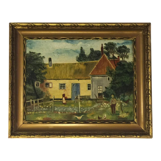 Antique Folk Art Oil Painting - Image 1 of 3