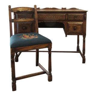 Vintage Mid Century Jamestown Lounge Co. Feudal Oak Desk Set- 3 Pieces For Sale