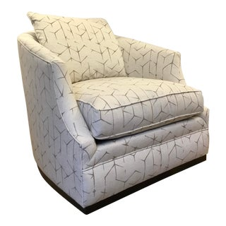 Caracole Couture Gray and White Abstract Print Modern Swivel Club Chair For Sale