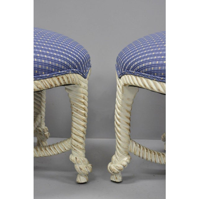 Late 20th Century Late 20th Century Vintage Italian Hollywood Regency Rope & Knot Carved Wood Napoleon III Stools- A Pair For Sale - Image 5 of 9