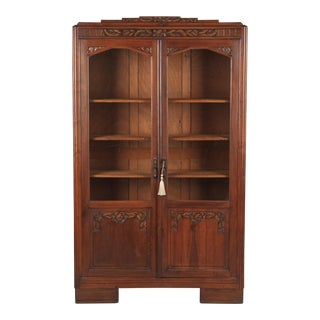1930s Art Deco Walnut Bookcase For Sale