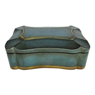 Vintage Italian Gilt Gold Trimmed & Teal Wood & Terra-Cotta, Scalloped Lidded Keepsake Box For Sale