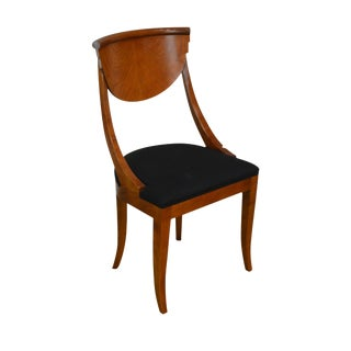 Biedermeier Style Vintage Italian Walnut Side Chair For Sale