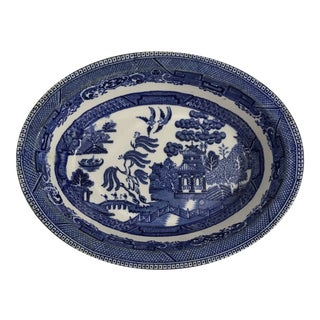 Antique Blue Willow Porcelain Oval Dish For Sale
