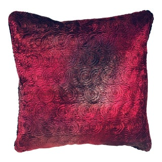 Richard Fischer Christmas Collection Hand Painted Embroidered Velvet Pillow With Swarovski Crystals Trim-Red For Sale