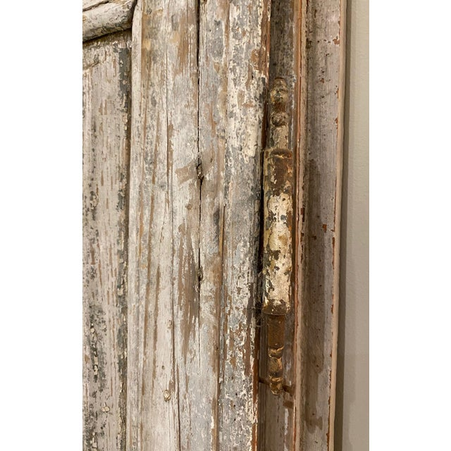 19th Century 19th Century French Antique Chippy Paint Doors With Hardware - a Pair For Sale - Image 5 of 7
