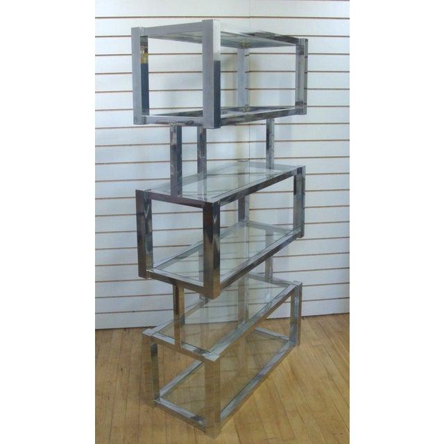 Milo Baughman Chrome and Glass Floating Cubic Etagere Shelf, Milo Baughman For Sale - Image 4 of 4