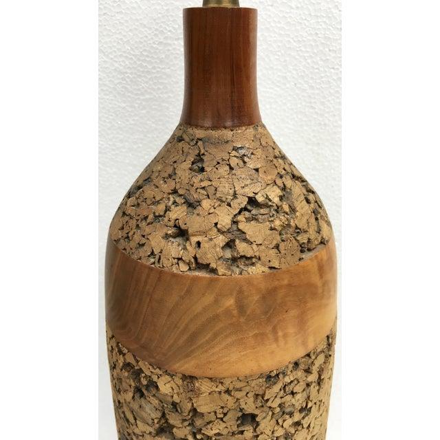Vintage Cork & Wood Lamp - Image 4 of 4