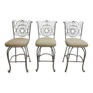 Bronze Coated Metal Scroll Bar Stools - Set of 3 For Sale