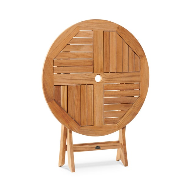 Stella 3-Piece Teak Outdoor Round Folding Table and Chair Bistro Set in Black For Sale - Image 4 of 7