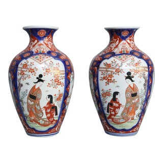 19th-C. Japanese Porcelain Imari Vases - a Pair