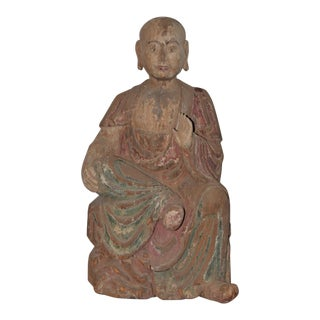 19th C. Polycrhome Painted Wood Seated Buddhist Luohan Sculpture For Sale