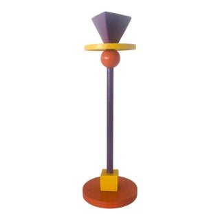 Ettore Sottsass Inspired Memphis Style Candlestick in Orange Purple and Yellow For Sale