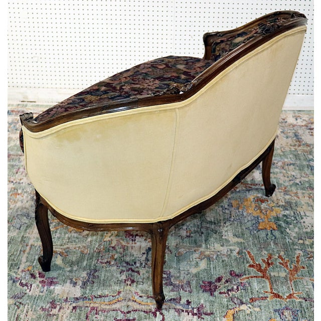 1920s Louis XV Style Carved Walnut Tapestry Settee For Sale - Image 5 of 11
