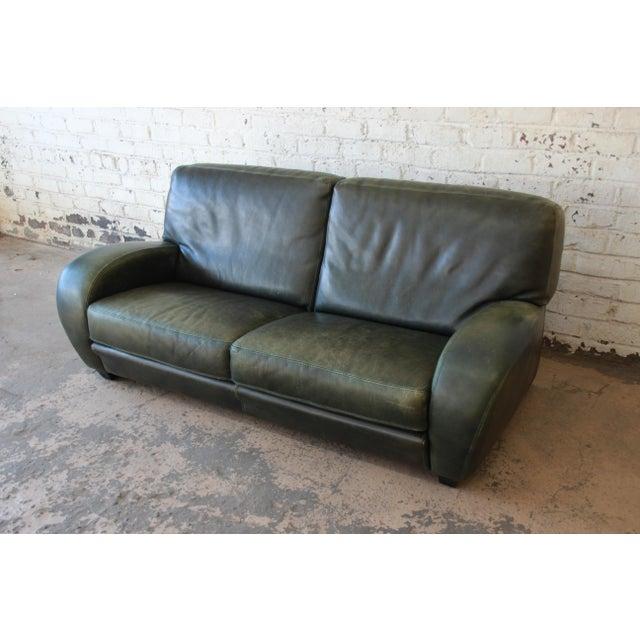 Roche Bobois Art Deco Green Leather Sofa | Chairish