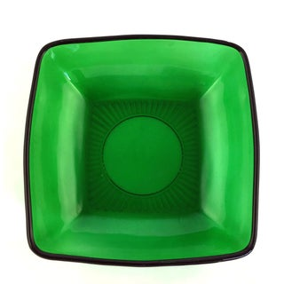 """1950s Anchor Hocking """"Charm"""" Square Green Glass Salad Bowl Preview"""