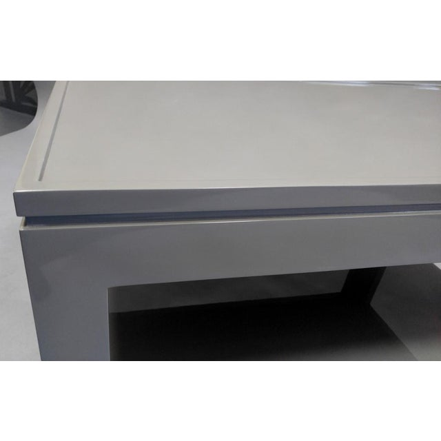 Contemporary Gray End Table/Night Stand With a Faux Tray Design For Sale - Image 4 of 5