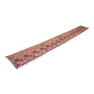 "Oversized Suzani Table Runner / Wall Hanging - 17'8"" X 1'9"" For Sale"