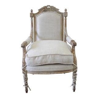 20th Century Louis XVI Style Carved Armchair Upholstered in a Irish Linen