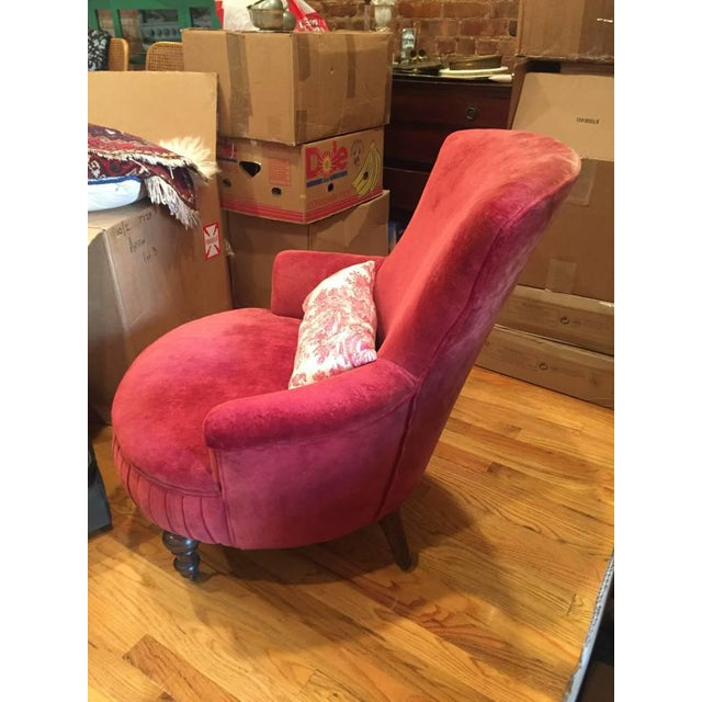 Victorian Red Velvet Slipper Chair - Image 4 of 6