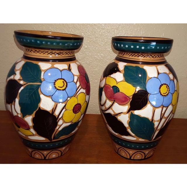 1960s Hand Painted Italian Ceramic Vases Pair Chairish