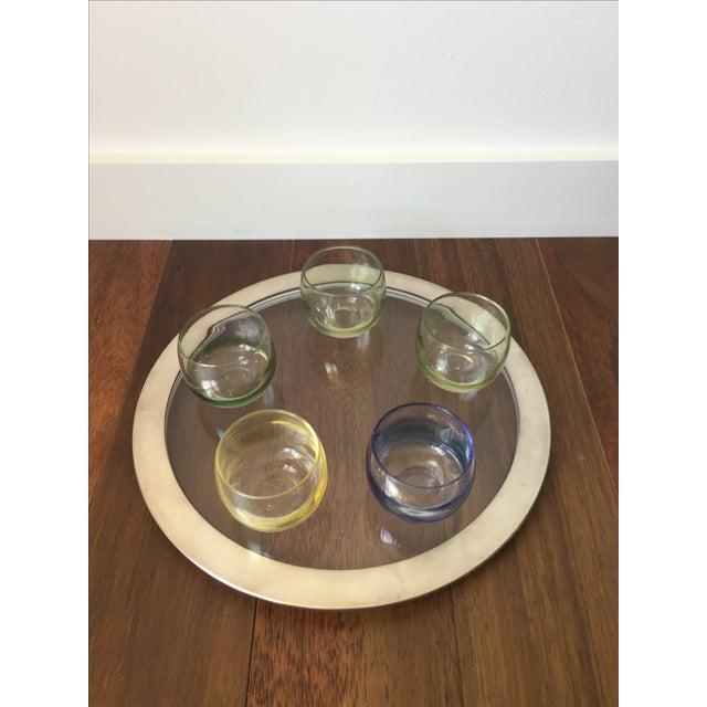 Silver Trim Tray & Multicolor Glasses - S/6 - Image 3 of 5