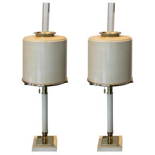 Tole and Glass Table Lamps - a Pair