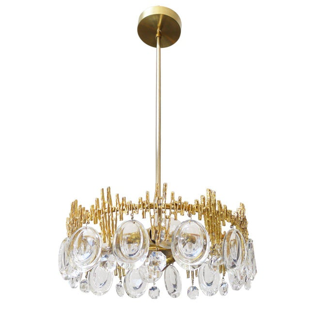 Drum-shaped mid-century ceiling pendant with a Brutalist style gilded brass band, oval crystals and brass...