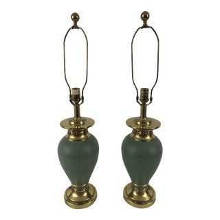 Ethan Allen Jade Colored Greco Style Lamps - a Pair For Sale