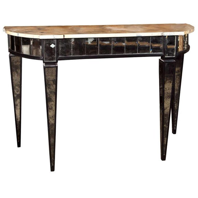 Maison Jansen Mirrored Demilune Console Table For Sale In New York - Image 6 of 6