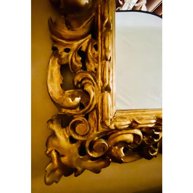 Wood Gilt Gesso Decorated Carved Wall / Console Mirror, Italian For Sale - Image 7 of 9