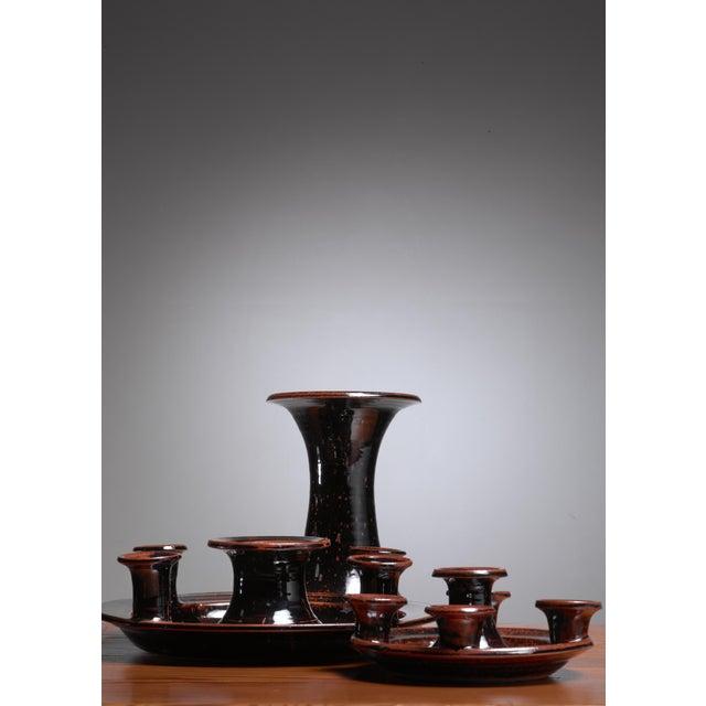 Mid-Century Modern Helle Allpass ceramic candelabra, Denmark, 1960s For Sale - Image 3 of 5