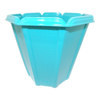 Mid-Century Modern Aqua Trash Can / Bin For Sale