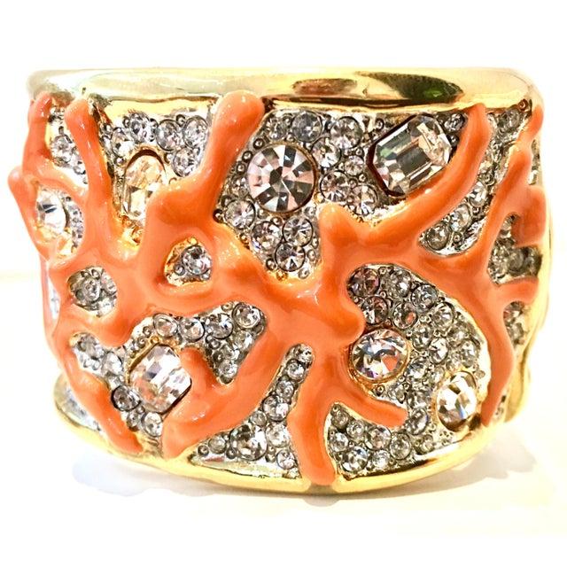 Contemporary 21st Century Kenneth Lane Gold & Faux Coral Swarovski Crystal Bracelet For Sale - Image 3 of 11