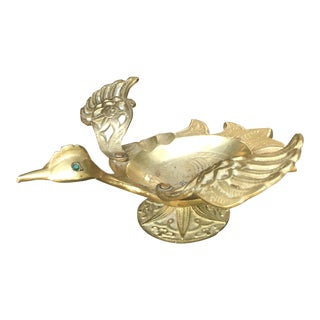 Vintage Mid-Century Modern Brass Bird Ashtray Moving Wings For Sale