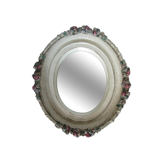 Oval Distressed Flower Mirror - Image 1 of 8